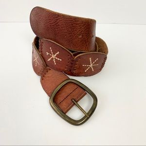 """American Eagle Embroidered Brown Leather Belt with Brass Tone Buckle 37""""- 41"""""""